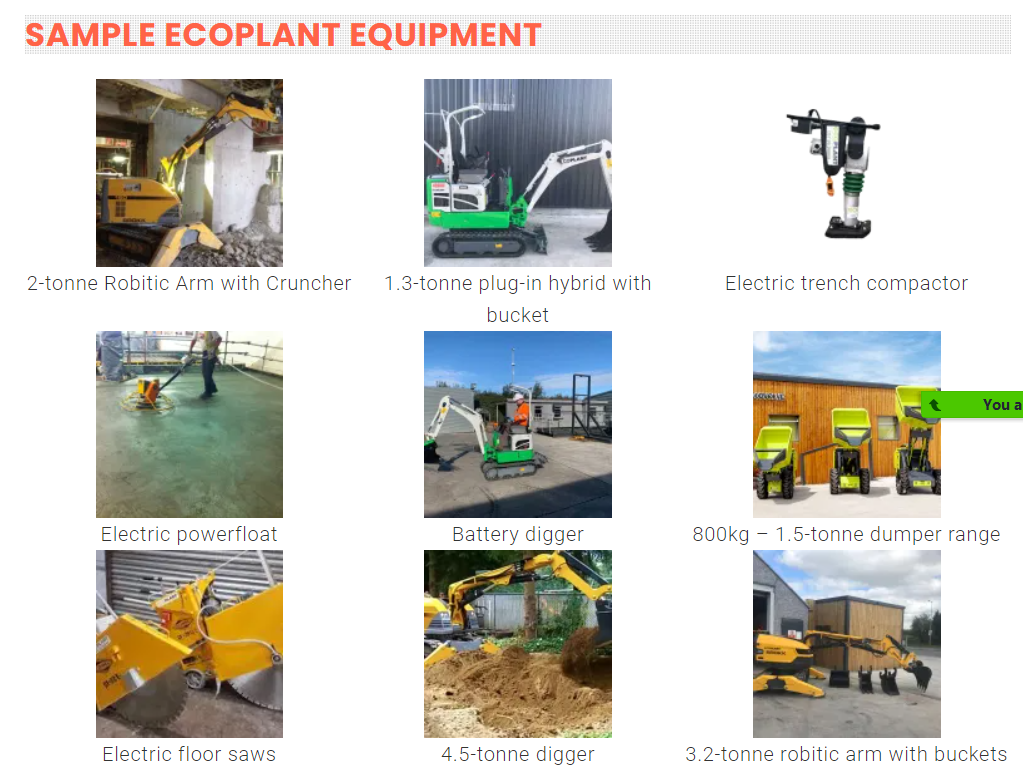 Eco Plant Hire Stock - Electric Diggers, Dumpers and more